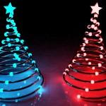 abstracte kerstboom rood en blauw